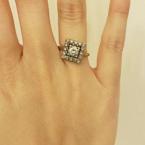 Designer Ring by Jabel Art Deco Platinum .5ct Ring for sale